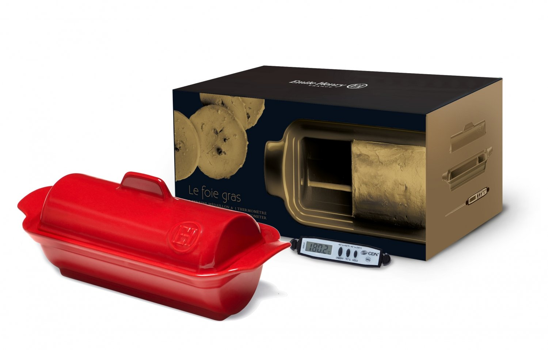Подарочный набор Emile Henry Паштет-Медальон (террин 23,5x10,5см и градусник), цвет Гранат