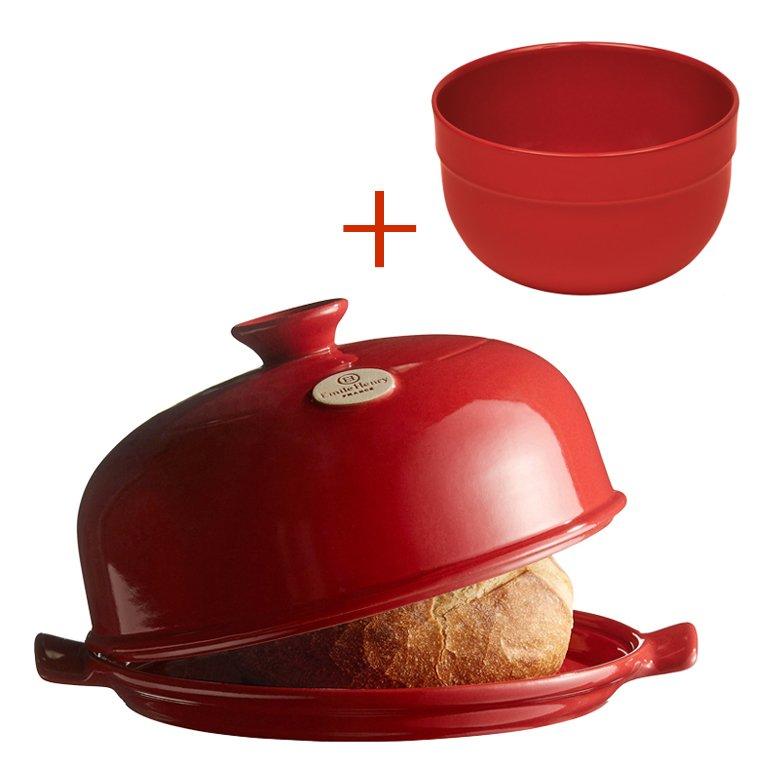 Промонабор:Emile Henry Форма для  выпечки хлеба(гранат)+ салатник 21,5 см