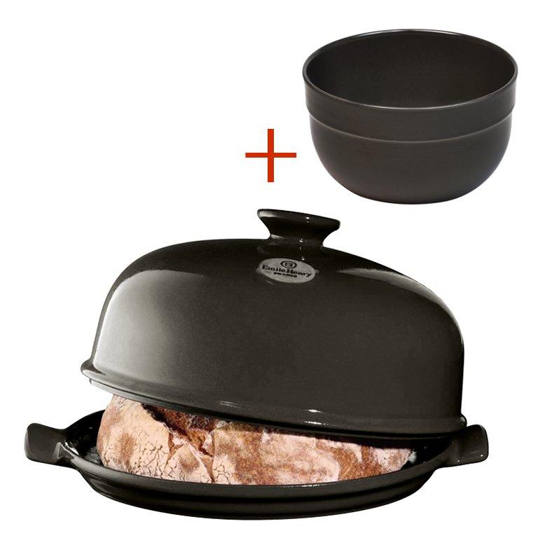 Промонабор:Emile Henry Форма для выпечки хлеба (базальт) + салатник 21,5 см